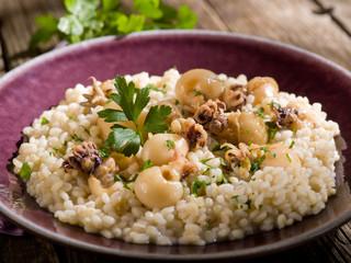 barley risotto with small sepias