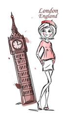 Девушка моды мультфильма путешествует по миру, вектор фон