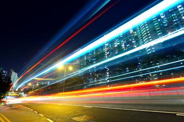 highway car light trails Fotomurales