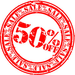 50 percent sale off rubber stamp, vector illustration