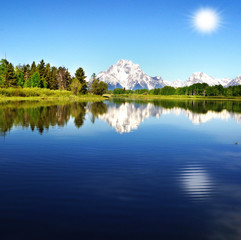 Beautiful Oxbow bend with background sun