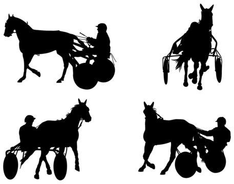 cheval de course attelé