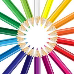 Buntstifte im Kreis angeordnet
