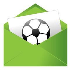 Courrier, email, message, invitation, enveloppe, foot, ballon