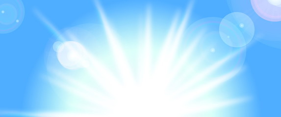 Vector sun on blue sky with lenses flare, eps10