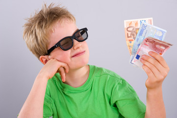 cool boy with sunglasses money