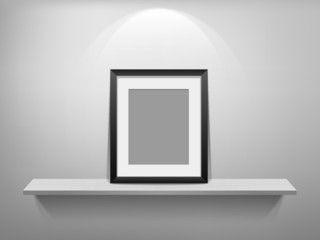 3D Empty white shelf and black frame vector illustration