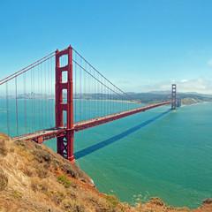 The Golden Gate Bridge in San Francisco with beautiful azure oce