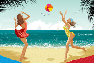 Two girls playing a ball at a beach