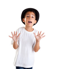boy gesture with black hat isolated on white