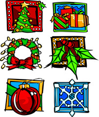 Christmas and Holiday Icon Vector Illustrations