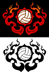 Volleyball with Flaming Border Tattoo Vector Illustration