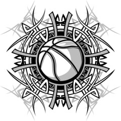 Basketball with Tribal Borders Vector Graphic Image