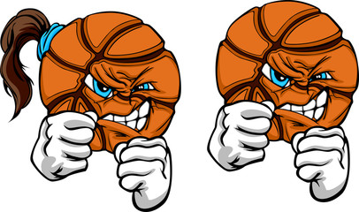 Fighting Basketball Ball Vector Illustration