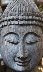 Face of Buddha, native Thai style wood carving