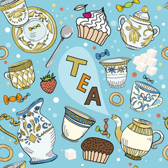 Seamless Victorian tea time pattern
