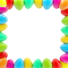 Glossy easter egg square colorful frame