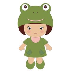 Little girl in frog costume