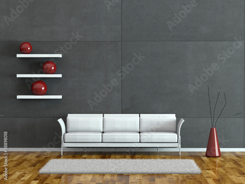 wohndesign modernes sofa vor grauer wand stockfotos. Black Bedroom Furniture Sets. Home Design Ideas