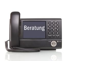 telefonische Beratung  schwarzes Telefon mit großem display