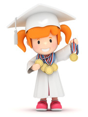 3D render of a girl with medals