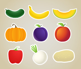 Vector fruit and vegetables silhouettes collection