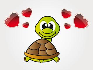 Happy little turtle in love