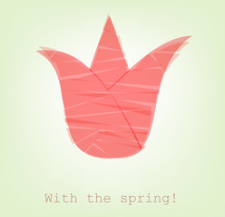 broken tulip cut from paper, with the spring!, vector.