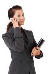 Young businesswoman on mobile