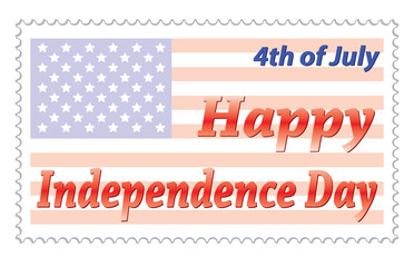 Happy Independence Day post stamp vector illustration