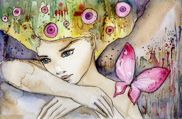 Poster Painterly Inspiration piękna dziewczyna z motylem