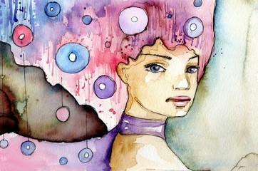 abstrakcyjny portret dziewczyny w fantazyjnej fryzurze
