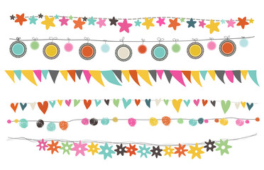 colorful buntings and garland