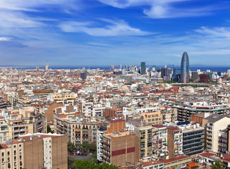 Aerial view of Barcelona..