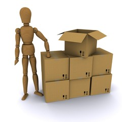 The wooden man and cardboard boxes. 3D rendering