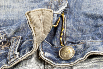 blue jeans, close up of zipper and pockets