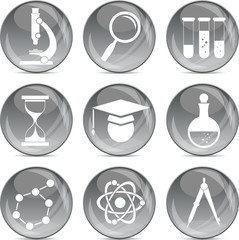 science icons on shiny grey balls eps10