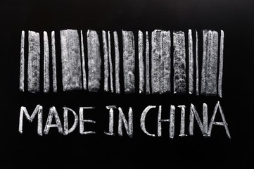 "Bar code of ""Made in China""written with chalk on a blackboard"