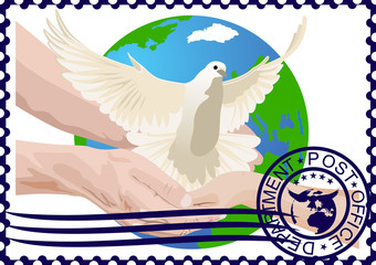 Postage stamp. A white dove