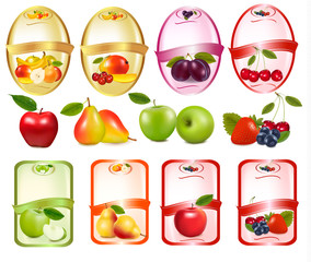 Set of labels with berries and fruit. Vector