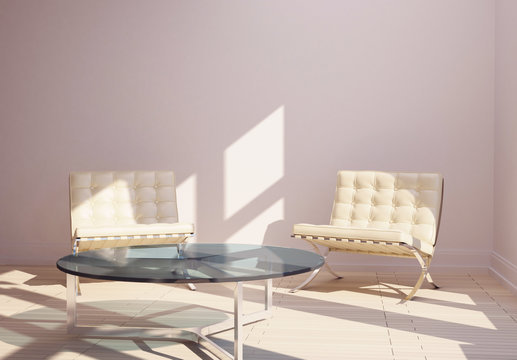 mimal modern interior  table and chairs Barcelona