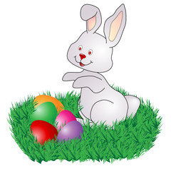 Easter Bunny rabbit with Eggs