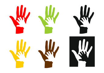 Kinderhand liegt in großer Hand, Hand in Hand