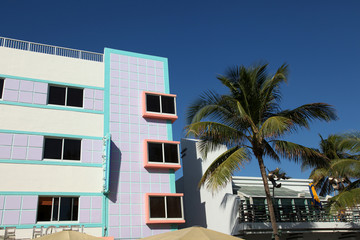 Typical Art Deco Building on Ocean Drive- South Beach in Florida