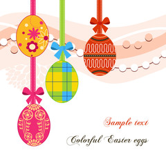 Hanging Easter eggs and ribbons background