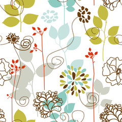 Spoed Fotobehang Abstract bloemen Spring plants seamless pattern