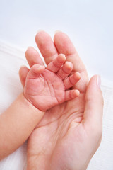 Female hand holding newborn baby's hand