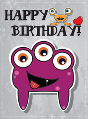 Happy birthday card with cute cartoon monster