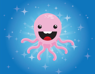 Cute cartoon octopus character on blue background