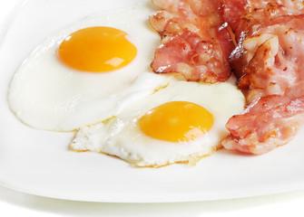 Fond de hotte en verre imprimé Ouf Traditional breakfast with bacon and fried eggs